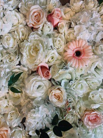 Ściana z kwiatów #wesele #dekoracja