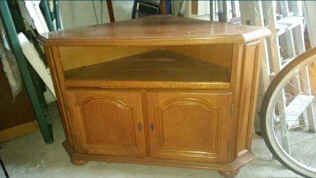 Szafka dębowa solidna  narożna pod telewizor itd z wysuwaną półką
