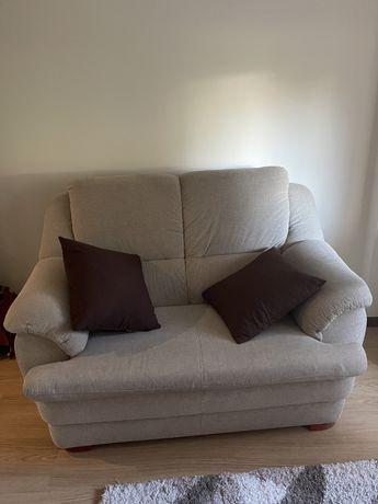 Sofa tecido 2 lugares beje lavavel