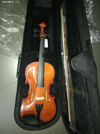 Violino novo de madeira castanho 1/2 marca MSA