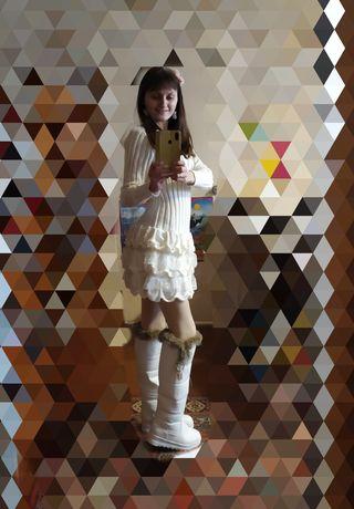 Кокетка- платье! 40-42 р. Вязаное сукня плаття нарядное теплое воланы