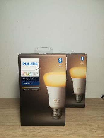 2 Lâmpada LED inteligentes Philips Hue E27 White Ambiance novas
