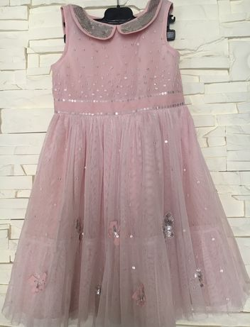 Sukienka tiulowa pudrowa cekiny 104/110 j.mayoral zara