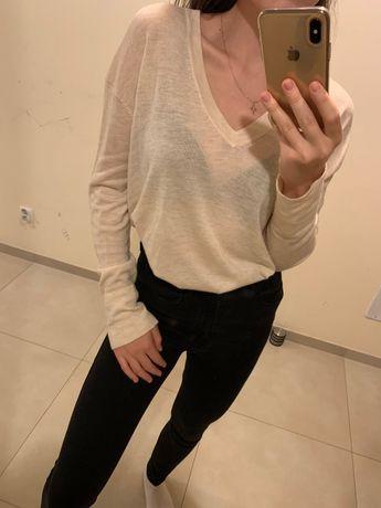 Kremowy cienki sweter oversize dekolt w V ZARA