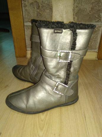 Сапоги для девочки зима кожаные