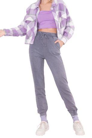 Spodnie dresowe z wysokim stanem 15661 szare (L) WYPRZEDAŻ!