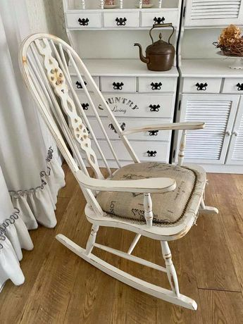 Fotel bujany shabby chic, farmhouse, postarzany, prowansalski