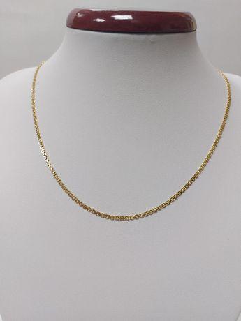 Złoty łańcuszek - bismark z białym złotem próba 585 komunia