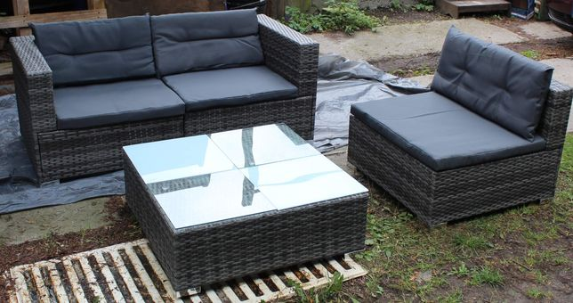 Meble ogrodowe rattanowe szare Vidaxl sofa+krzesło+stolik kawowy