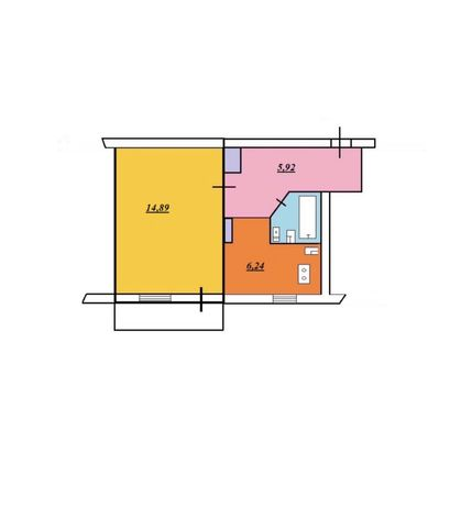 Однокомнатная квартира 4/5 бул. Центальный
