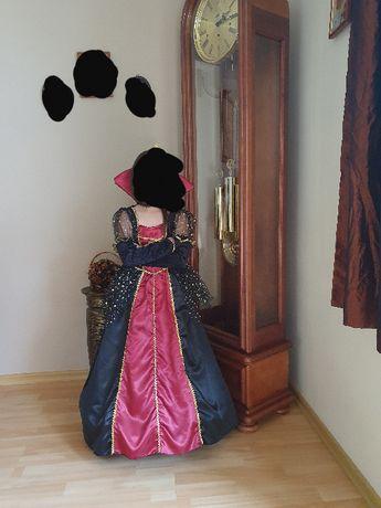 strój WAMPIR sukienka bal HALLOWEEN królowa 110/120