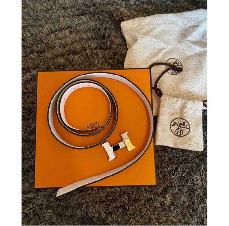 Cinto Hermes H leather belt
