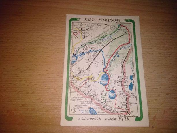 Karta pamiątkowa z tatrzańskich szlaków PTTK