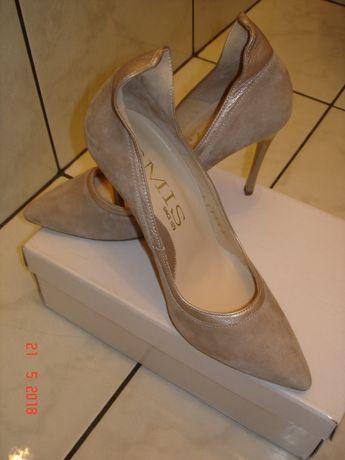 Buty,naturalna włoska skóra,śliczne czółenka nr38 Produkowane w Polsce