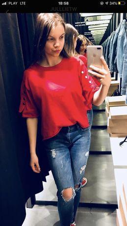 Bluzka czerwona damska Zara guziki S