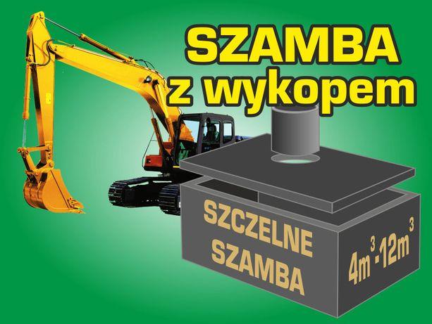 Szamba betonowe zbiorniki na szambo WYKOP KOPARKA KOMPLEKSOWO A-Z