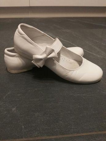Buty dla dziewczynki białe komunijne r. 35 baletki komunia skóra natur
