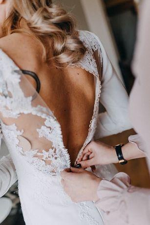 Suknia ślubna Pronovias Orquidea, koronka, rybka, tren