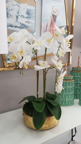 Orquídea em Base de Vidro Dourado By Arcoazul