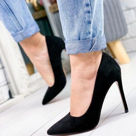 Женские черные замшевые туфли - лодочки