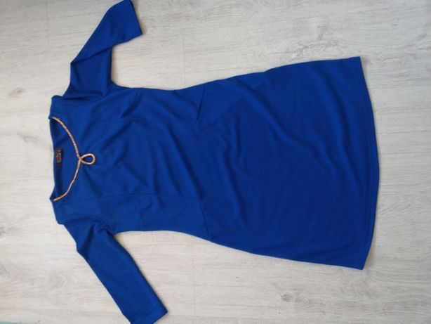 XL chabrowa sukienka ze złotym zdobieniem złota blawatkowa niebieska