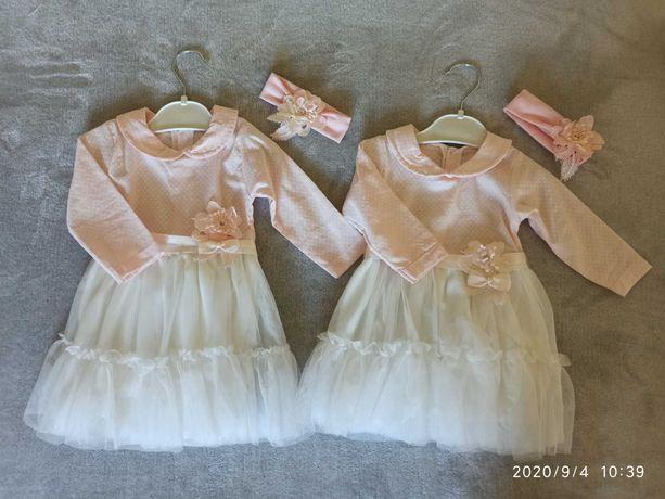 Sukienki niemowlece do chrztu, na impreze, na wesele. r. 62. Blizniaki