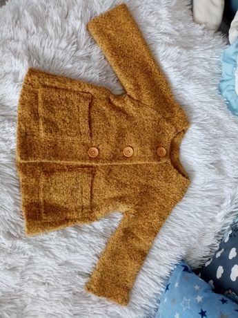 Śliczny płaszczyk Zara alpaka płaszczyk wiosenny musztardowy cudo