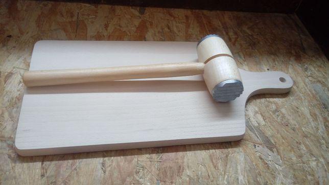 Deska + tłuczek do mięsa drewniany - NOWY