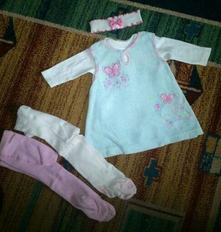 zestaw sukieneczka body 2*rajstopki opaska dla dziewczynki 0-3 mies.