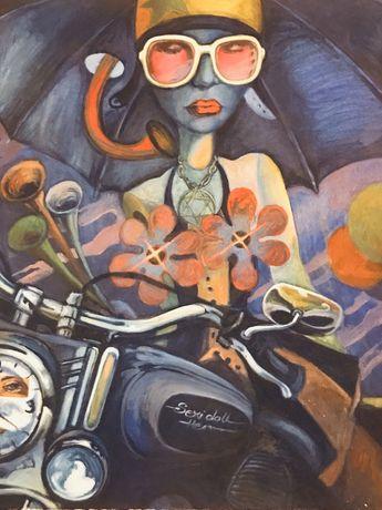 """Obraz na płótnie """"Dziewczyna na motorze""""."""