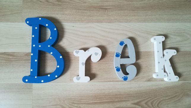 Literki na ścianę, Imię dziecka. Litery ze styruduru B, r, e, k