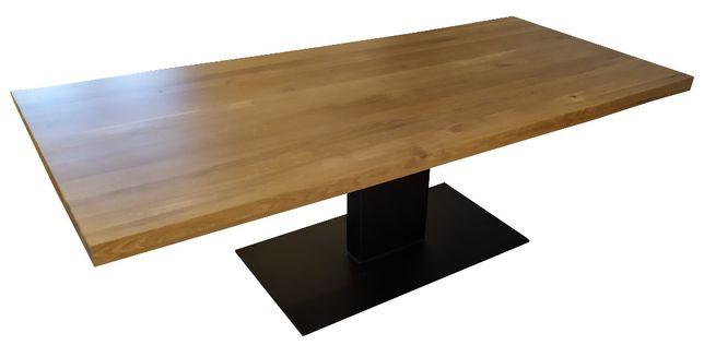 Stół z drewna dębowego na nodze podstawie z metalu- industrialny