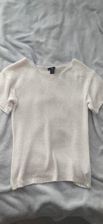 Ażurowa kremowa bluzka sweterek h&m