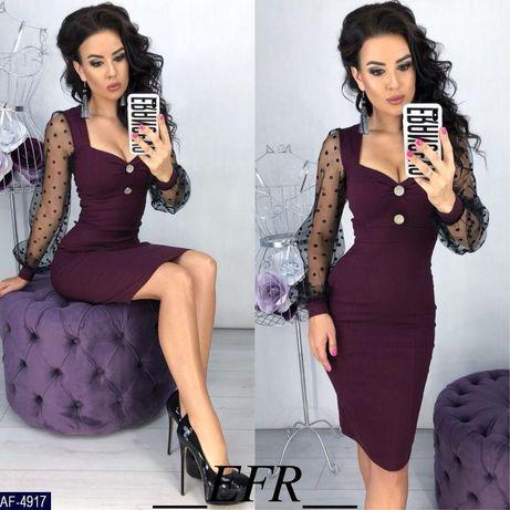Платье плаття купить брошки рукав сетка платья оптом42-52р