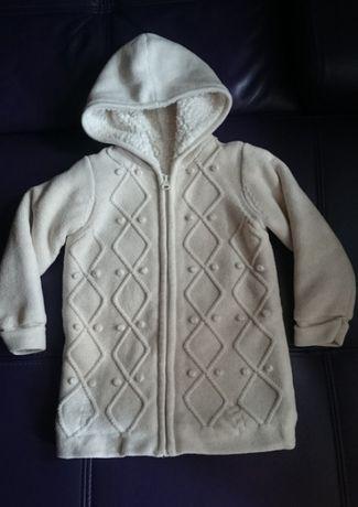 Ocieplany dłuższy swetr, sweterek, płaszczyk dziecięcy rozmiar 98