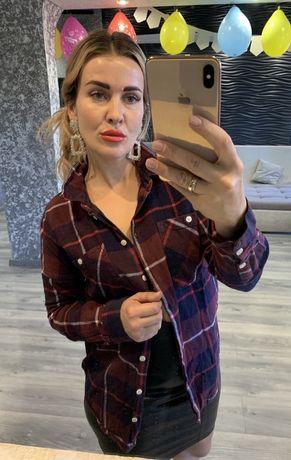 Рубашка в клетку  теплая Zara 42-44