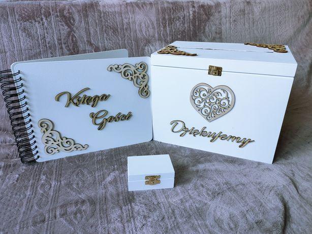 Pudełko na koperty i obrączki, księga gości. Biały zestaw z dekorami.