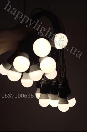 Ретро гирлядна черная/белая уличная лэд лампы матовые филаментные ip65