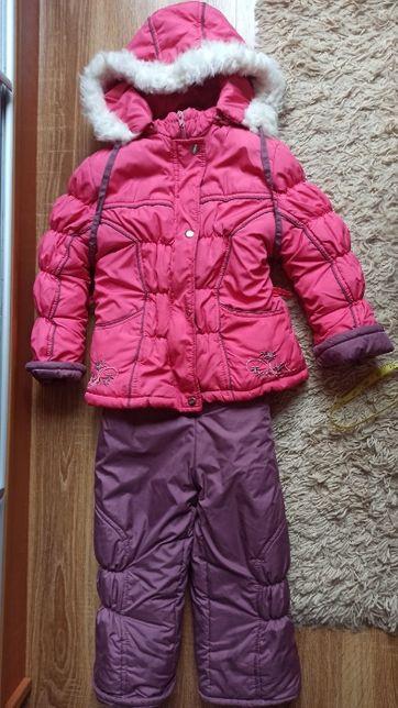 Теплый зимний комплект, костюм, комбинезон на девочку на меху р 104