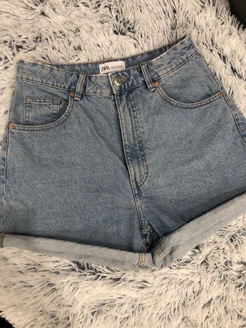 38р Новые джинсы джинсовые шорты мом от zara на высокой посадке