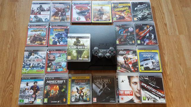 Playstation 3 + 2 comandos + 21 jogos