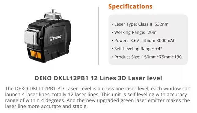 Nível laser 12 linhas