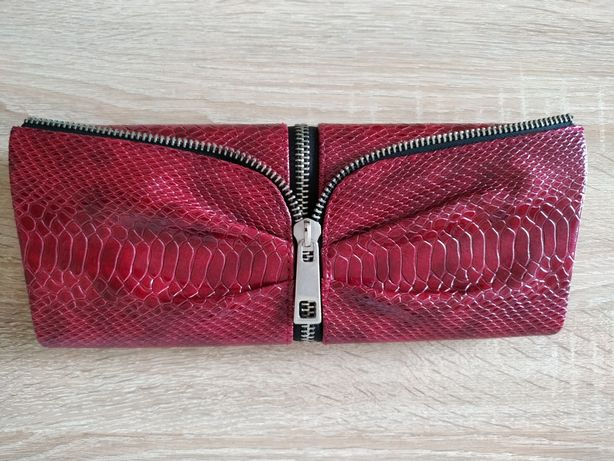 Клатч красный бордовый под змею сумочка маленькая красная