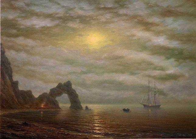 """Картина  море маслом на холсте """"Освещенный луной"""""""