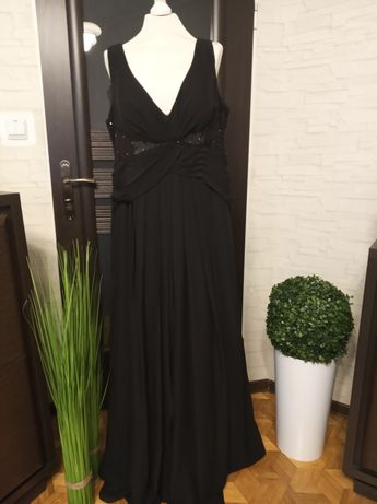 Długa, czarna, wieczorowa suknia m-ki Lighte Ju The Bez   r. 46/50