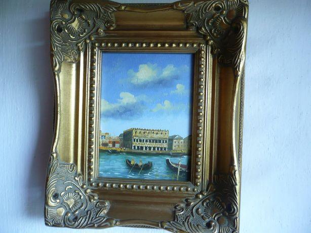 sygnowany obraz olejny Wenecja gondole ozdobna rama pejzaż