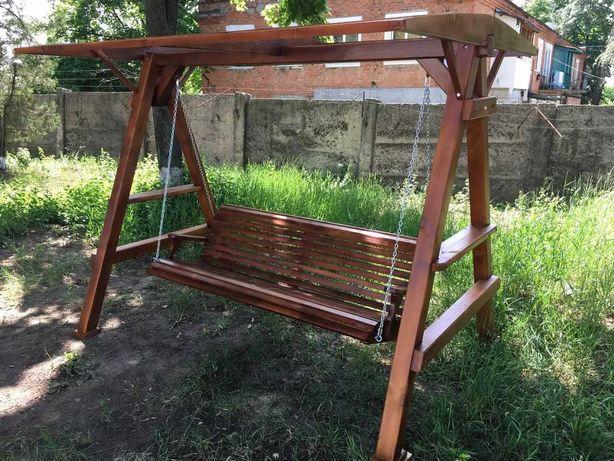 Качеля садовая из дерева на заказ/Садовая мебель/Столы/Лавки из сруба