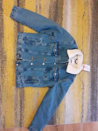 Kurtka jeansowa z kozuszkiem nowa r xs-s