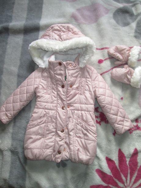 Piękna zimowa kurteczka dziewczęca BAKER r. 86 stan super, mała wada