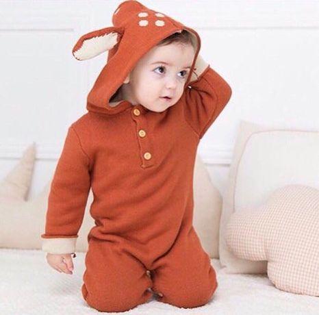 Теплый вязаный комбинезон олененок на малыша 9-12 мес